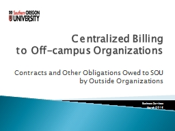 Centralized Billing                           to Off-campus Organizations