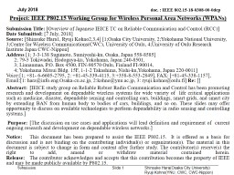 July 2018 Slide  1 Project: IEEE P802.15 Working Group for Wireless Personal Area Networks (WPANs)