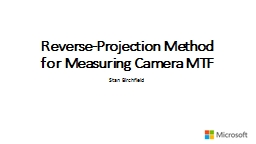 Reverse-Projection Method for Measuring Camera MTF