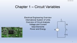 Chapter 1 – Circuit Variables