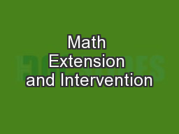 Math Extension and Intervention