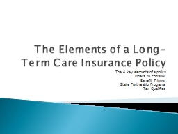 The Elements of a Long-Term Care Insurance Policy