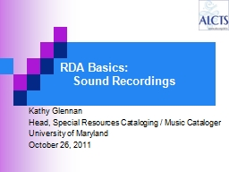 RDA Basics:  Sound Recordings