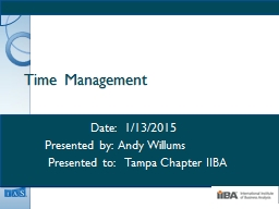 Time Management 	     Date:  1/13/2015
