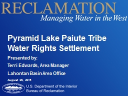 Pyramid Lake Paiute Tribe Water Rights Settlement