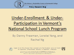 Under-Enrollment & Under-Participation in