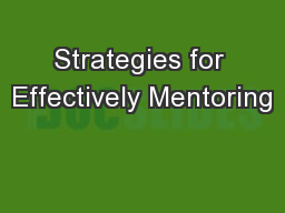 Strategies for Effectively Mentoring