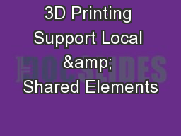 3D Printing Support Local & Shared Elements