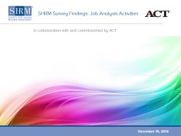 SHRM Survey Findings: Job Analysis Activities