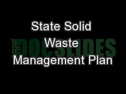 State Solid Waste Management Plan