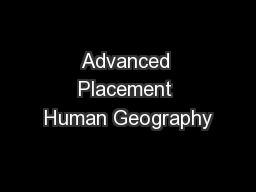 Advanced Placement Human Geography