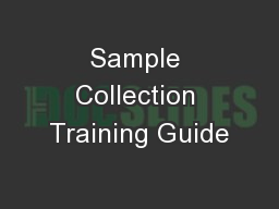 Sample Collection Training Guide