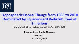 Tropospheric Ozone Change from 1980 to 2010 Dominated by Equatorward Redistribution of Emissions