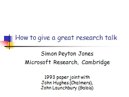 How to give a great research talk