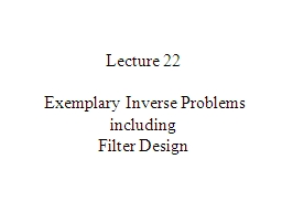 Lecture 22  Exemplary Inverse Problems