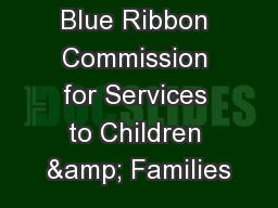 Blue Ribbon Commission for Services to Children & Families