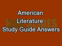 American Literature Study Guide Answers