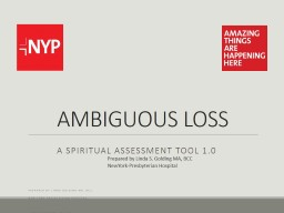 AMBIGUOUS LOSS 	 A Spiritual Assessment Tool 1.0