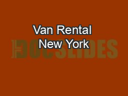 Van Rental New York