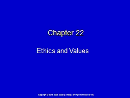 Chapter  22 Ethics and Values