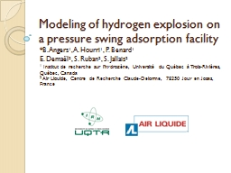 Modeling  of hydrogen explosion on a pressure swing adsorption facility