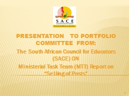 PRESENTATION  TO PORTFOLIO COMMITTEE FROM: