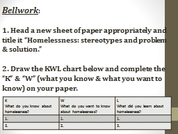 """Bellwork : 1. Head a new sheet of paper appropriately and title it """"Homelessness: stereotypes and"""