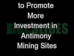 EU's Initiative to Promote More Investment in Antimony Mining Sites