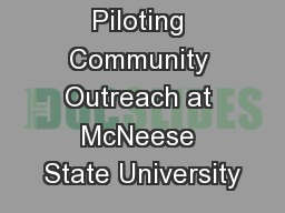 Piloting Community Outreach at McNeese State University
