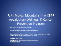 Faith Moves Mountains II: A CBPR Appalachian Wellness & Cancer Prevention Program