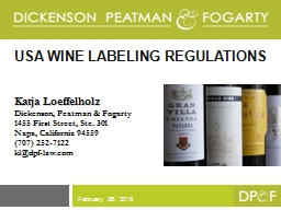 Usa  WINE LABELING REGULATIONS