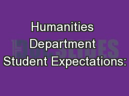 Humanities Department Student Expectations: