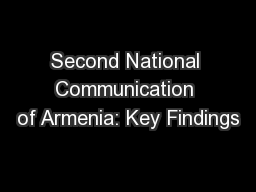 Second National Communication of Armenia: Key Findings