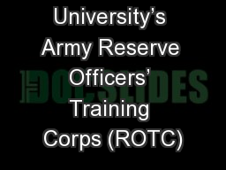 Washington University's Army Reserve Officers' Training Corps (ROTC)