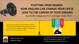 PLOTTING YOUR DEGREE:  HOW ENGLISH CAN CHANGE YOUR LIFE &