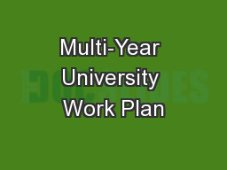 Multi-Year University Work Plan