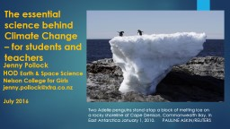 The essential science behind Climate Change � for students and teachers