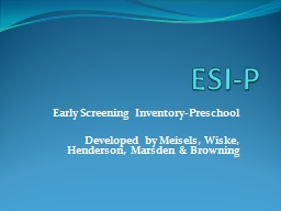 ESI-P Early Screening Inventory-Preschool