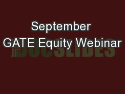 September GATE Equity Webinar