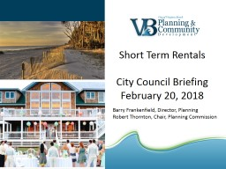 Short Term Rentals City Council Briefing