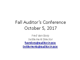 Fall Auditor�s Conference
