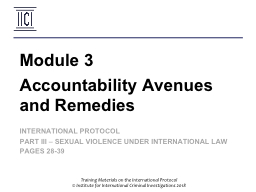 Accountability Avenues and Remedies