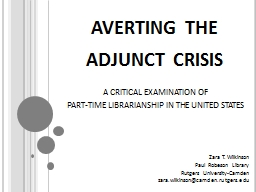 averting the adjunct crisis