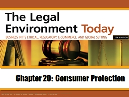 Chapter 20:  Consumer Protection