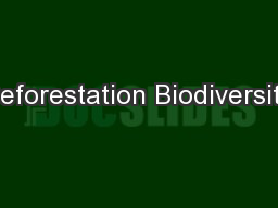 Deforestation Biodiversity