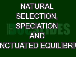 NATURAL SELECTION, SPECIATION AND PUNCTUATED EQUILIBRIUM