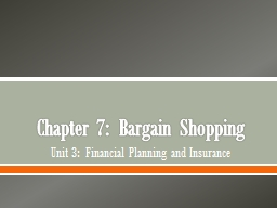 Chapter  7:  Bargain Shopping