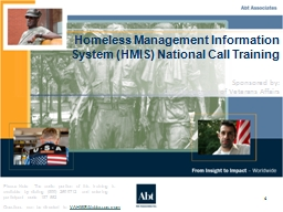 1 Homeless Management Information System (HMIS) National Call Training