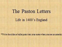 The  Paston  Letters Life in 1400's England