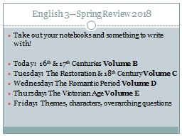 English 3�Spring Review 2018